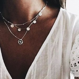 2/3/4-$18/20/24 Layered Dainty Coin Boho Necklace